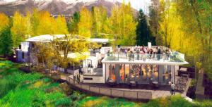 Rendering of the new pavilion and terrace at the Aspen Meadows Reception Center, Aspen Meadows Resort, Aspen, Colorado.